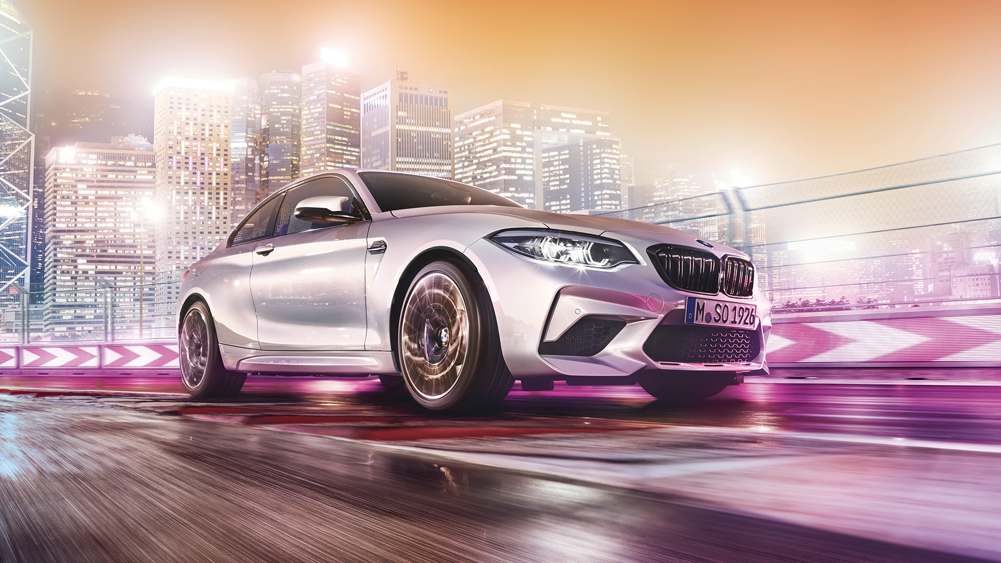 Front design BMW M2 Competition F87 2018 Hockenheim Silver metallic three-quarter front view
