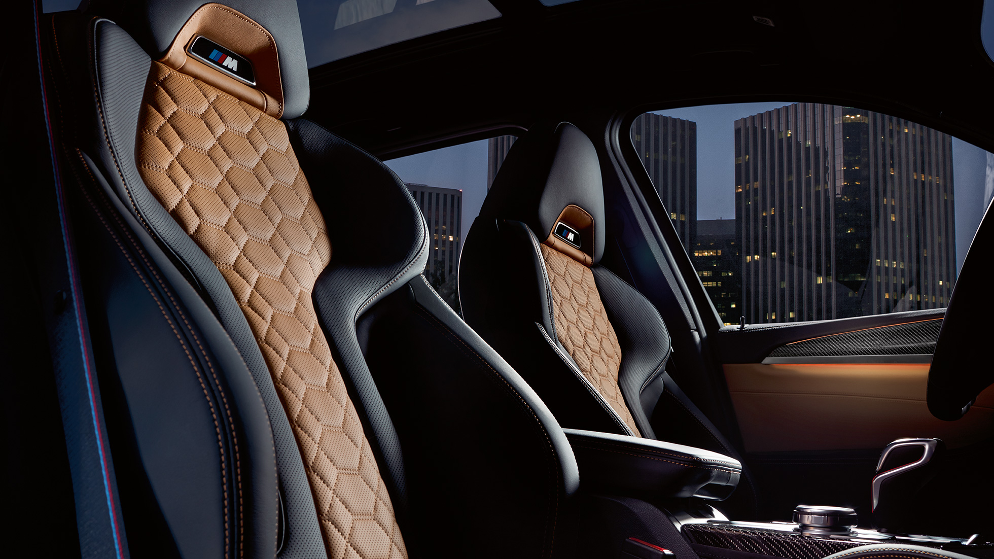 BMW X3 M Competition, interior, M Sport seats in 'Merino' leather with Alcantara.