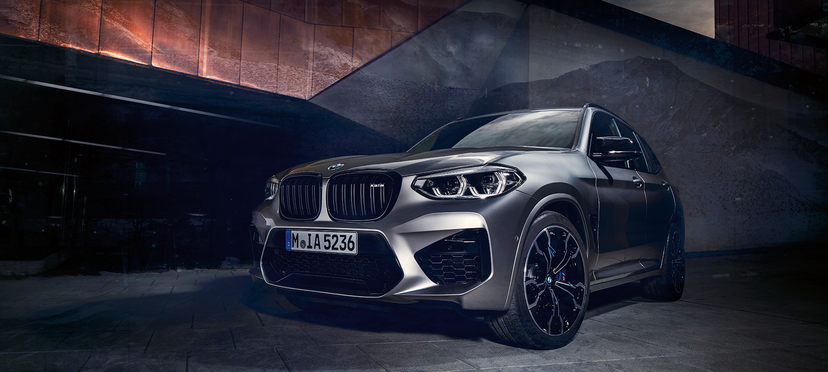 BMW X3 M Competition in Donington Grey metallic, exterior, three-quarter front view.